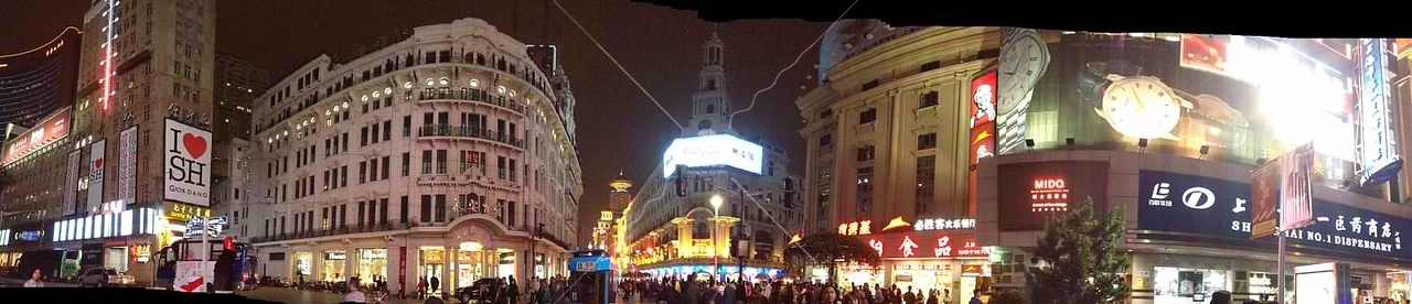 Panorama of East Nanjing pedestrian street, Shanghai by kstellick