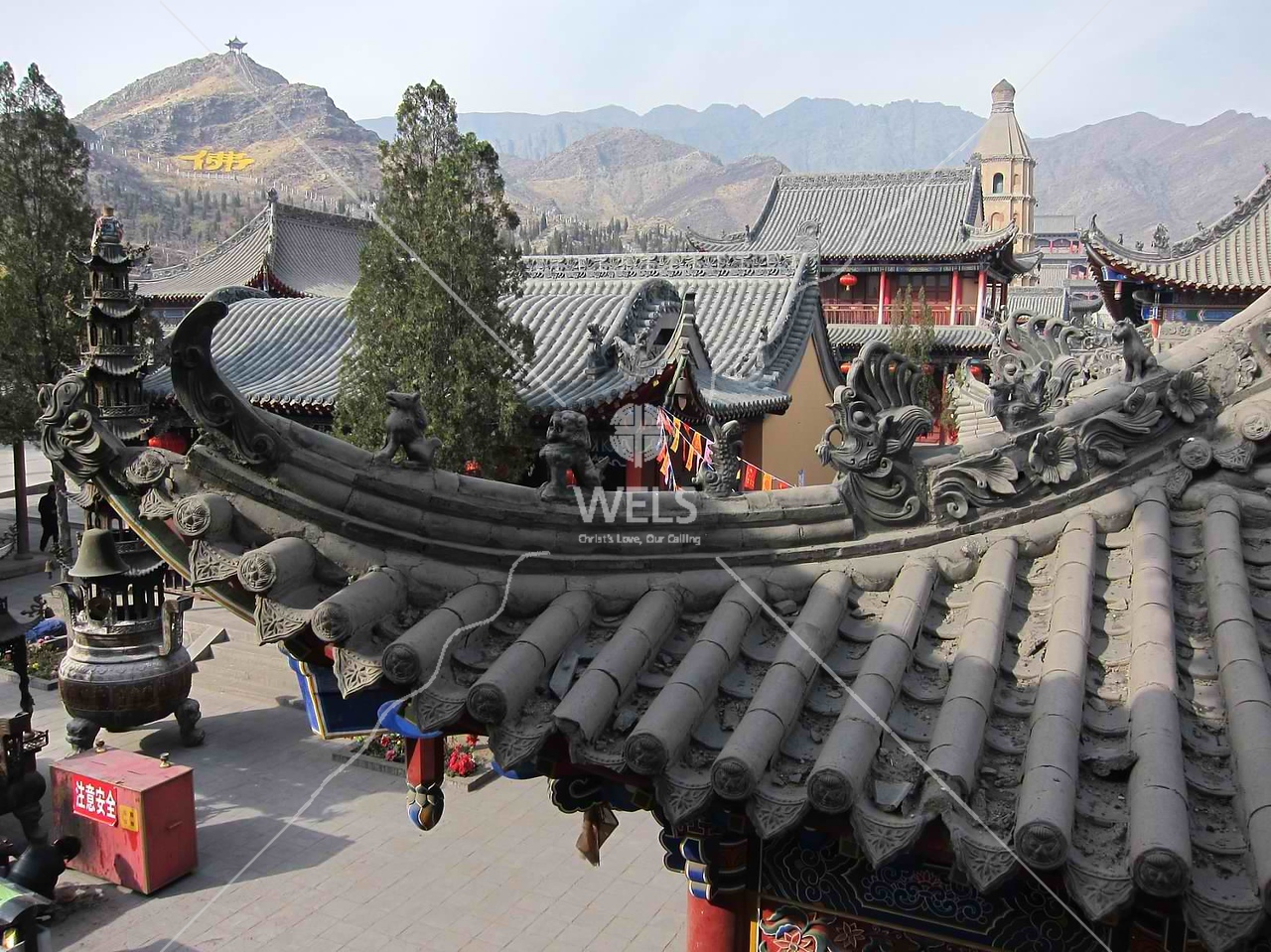 Buddhist temple peaks in Ningxia Dawukou China by kstellick