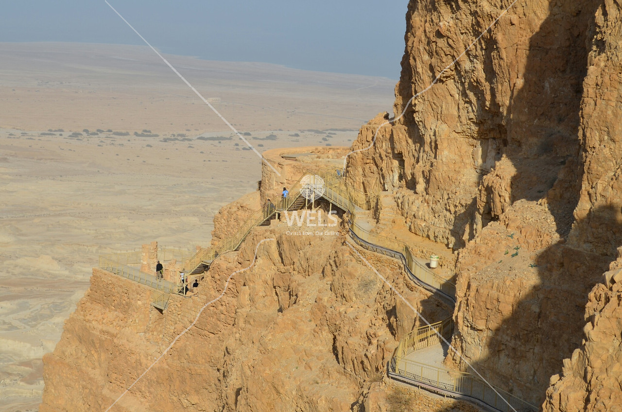 Masada - The lower two palaces build by King Herod at the Masada fortress by kdraper